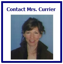 box that reads contact Mrs. Currier and has her picture