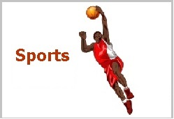 "The word ""Sports"" and a basketball player"