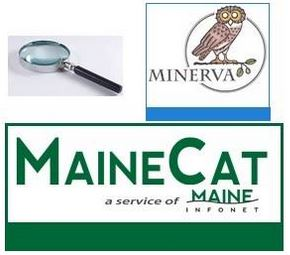 magnifying glass, Minerva catalog icon and MaineCat icon