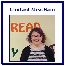 box that reads contact Miss Sam and has her picture
